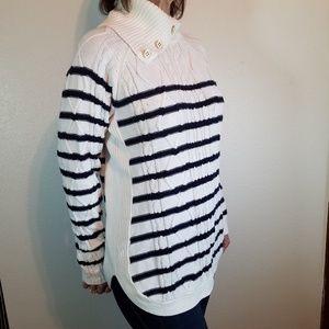 Croft&Barrow Tunic Sweater, navy & white. Sz L.